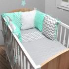 3tlg.Baby Bettwäsche 6 x Kissen als Nestchen Bettset 100x135 Decke Neu