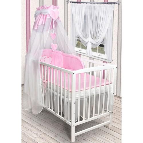 babybett kinderbett wei bettw sche bettset komplett neu herz. Black Bedroom Furniture Sets. Home Design Ideas