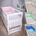 Babybett Kinderbett weiß Minky Bettset komplett Neu Matratze Schublade 120x60cm