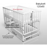 Babybett Kinderbett Gitterbett Weiß Vollmassiv NEU 120x60cm ohne Matratze