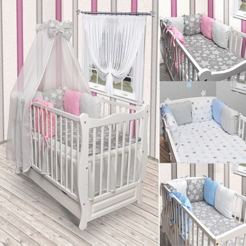 babybett kinderbett wei bettw sche bettset himmelstange. Black Bedroom Furniture Sets. Home Design Ideas