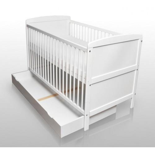 Kinderbett weiß mit schubladen  Babybett Kinderbett Gitterbett Weiß umbaubar 140x70cm mit ...