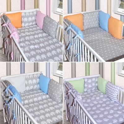 6 x kissen als nestchen nestchen mit kopfschutz f r babybett 140x70. Black Bedroom Furniture Sets. Home Design Ideas