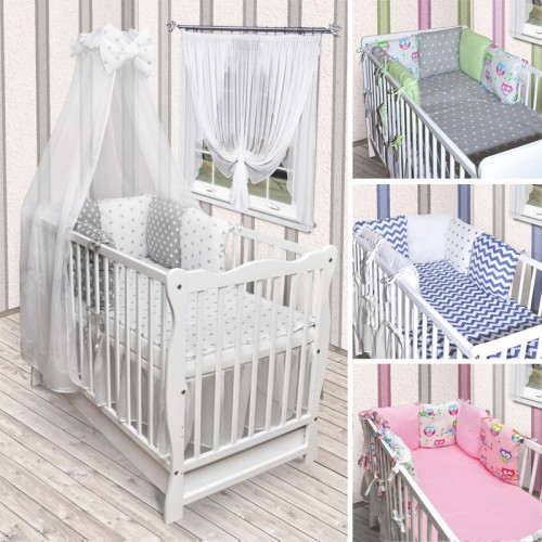 babybett kinderbett wei bettw sche bettset kissen komplett mit schublade neu. Black Bedroom Furniture Sets. Home Design Ideas